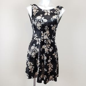TOPSHOP Velour Dress with Dots and Floral Print, 8